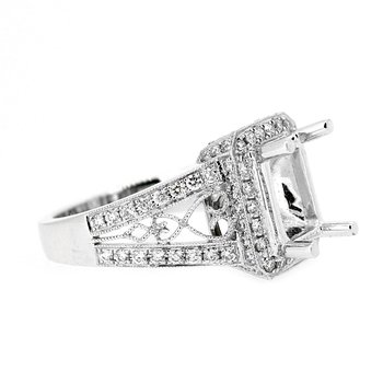 Rectangular Halo Diamond Ring Mounting