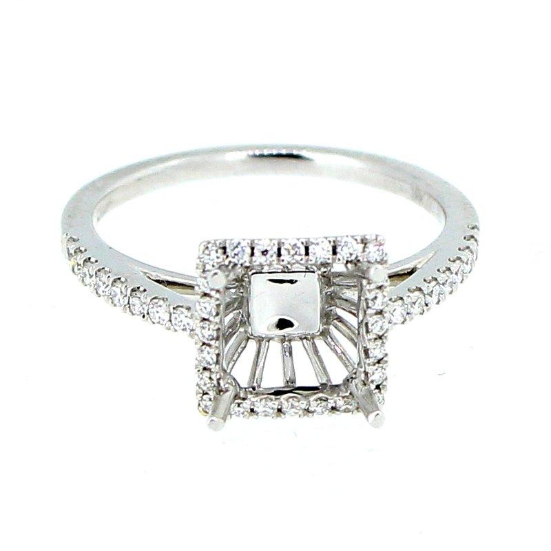Decor Square Diamond Halo Ring Mounting