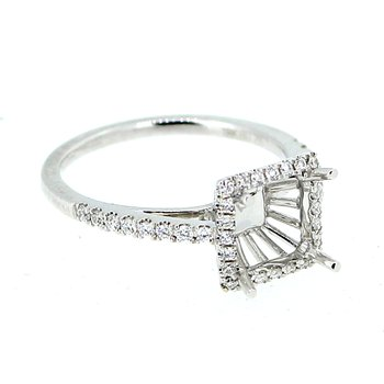 Square Diamond Halo Ring Mounting