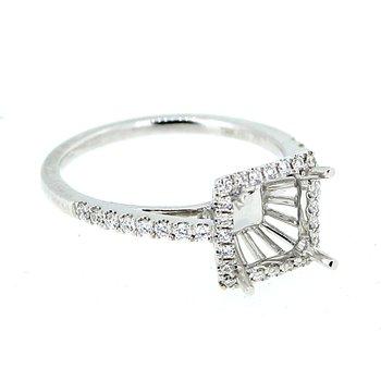 Square Diamond Halo Ring Mounting