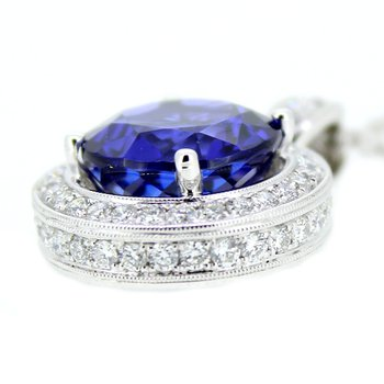 Tanzanite & Diamond Halo Pendant