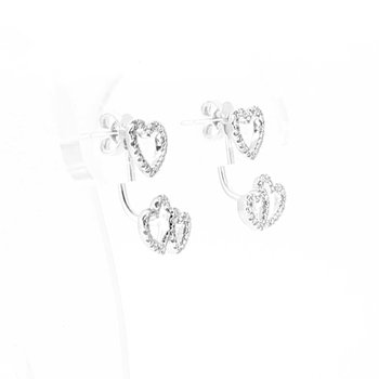 Above & Below Diamond Heart Earrings