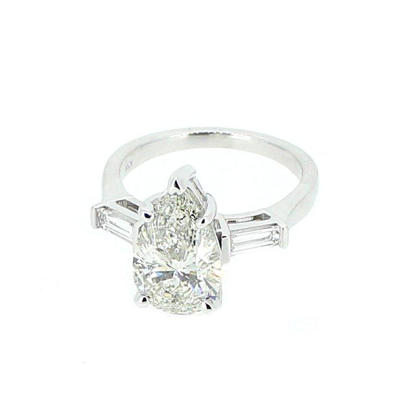 Decor 3.37ctw Pear & Baguette Diamond Ring