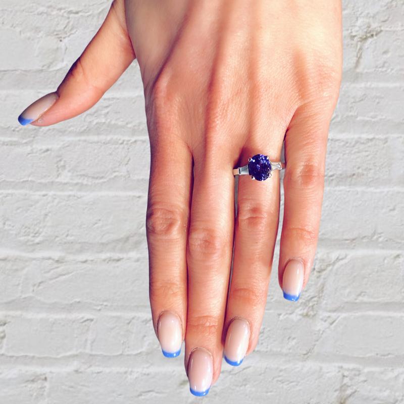 Decor Sapphire and Baguette Diamond Ring