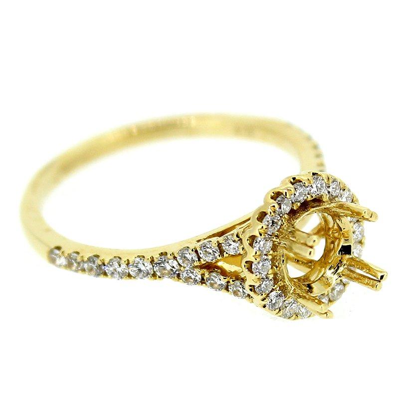 Decor Round Halo Engagement Ring Mounting