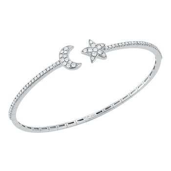 Star & Moon Diamond Cuff Bracelet