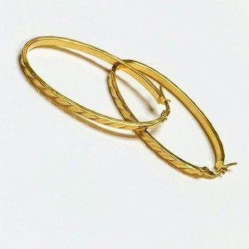 Elongated Oval Hoop Earrings
