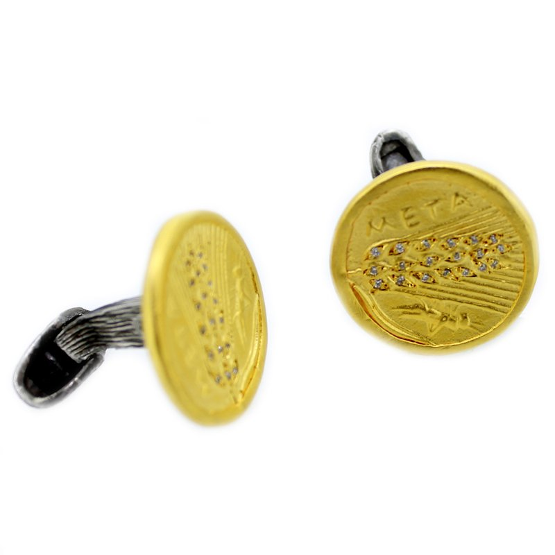 Kurtulan Sterling Coin Cufflinks with Diamonds and 24k Gold Accents
