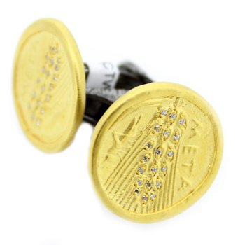 Sterling Coin Cufflinks with Diamonds and 24k Gold Accents
