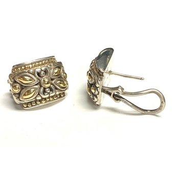 2 Tone Floral Design Earrings