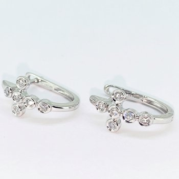 Diamond Cross Hoop Earrings