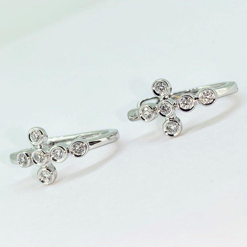 Decor Diamond Cross Hoop Earrings