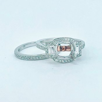 Halo Diamond Engagement Ring Mounting & Band