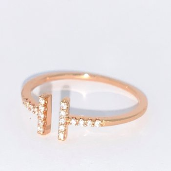 Open Diamond Bar Ring