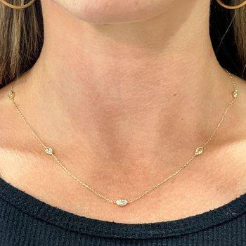 1.20ctw Bezel Set Marquise Diamond Necklace