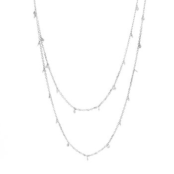 Long Bezel Set Drop Diamond Necklace