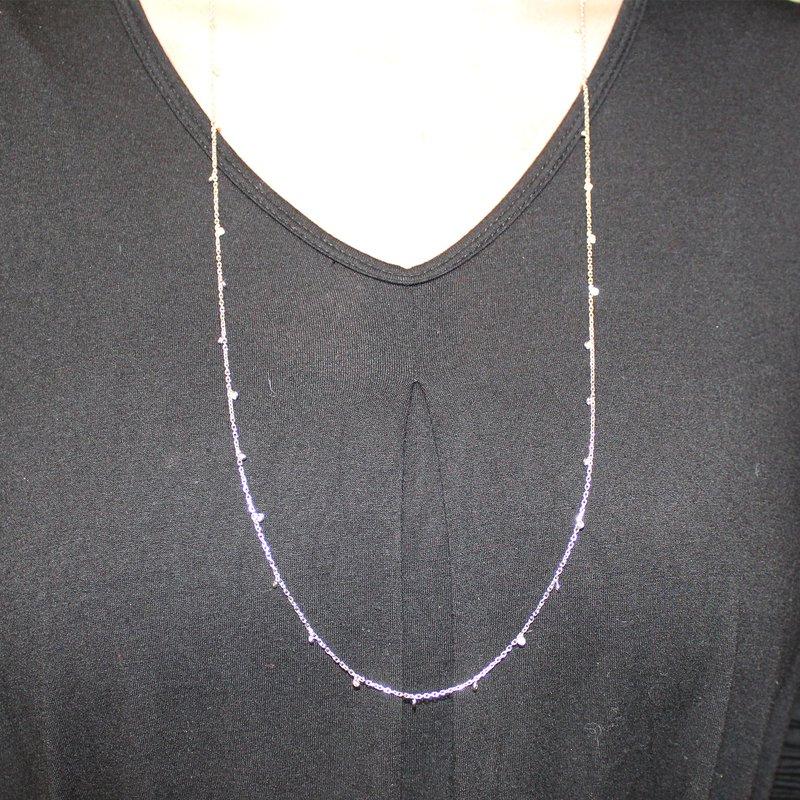 Decor Long Bezel Set Drop Diamond Necklace
