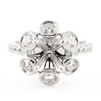 Floral Style Halo Ring Mounting w/Bezel Set Diamonds