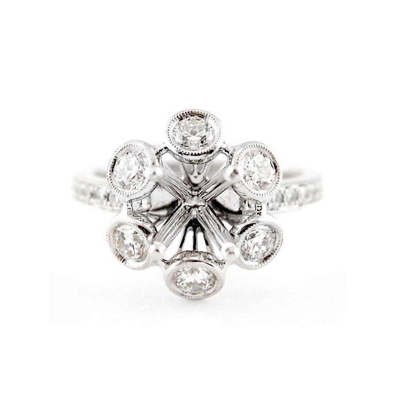 Decor Floral Style Halo Ring Mounting w/Bezel Set Diamonds