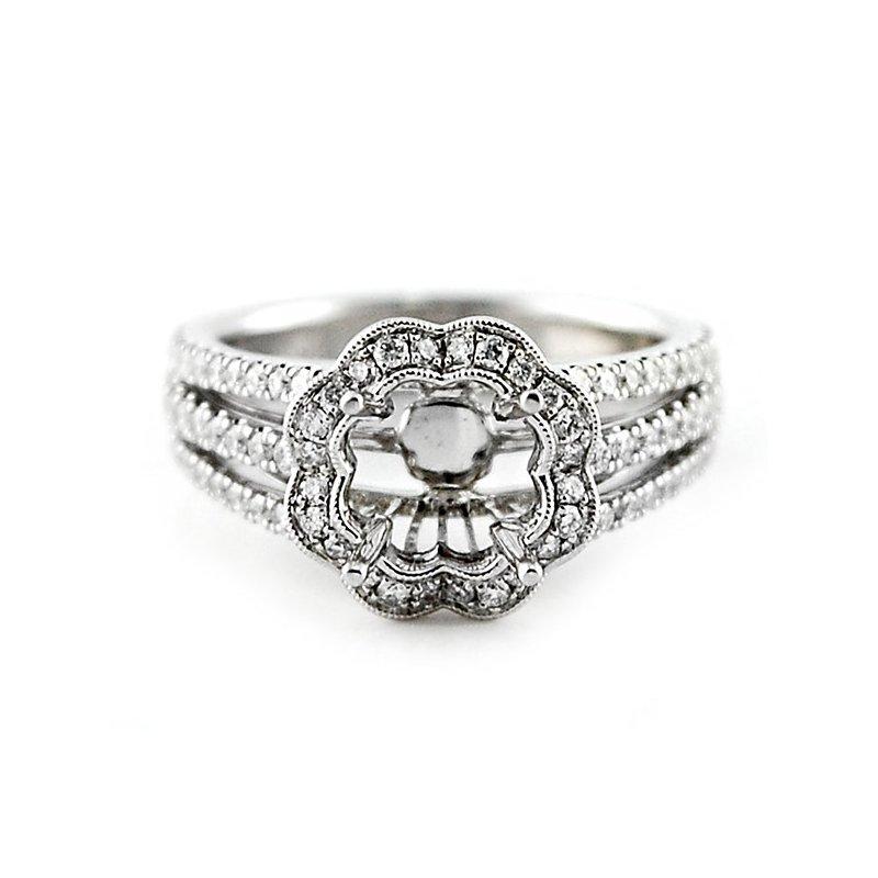 Decor Scallop Edged Halo Diamond Ring Mounting