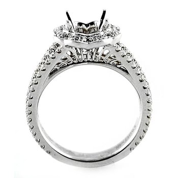 Scallop Edged Halo Diamond Ring Mounting