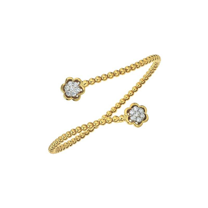 DA Gold Floral Diamond Cuff Bracelet