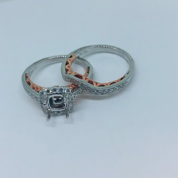 Halo Ring Mounting Set w/Rose Gold Accents