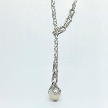 Bamboo Drop Pearl Lariat Necklace