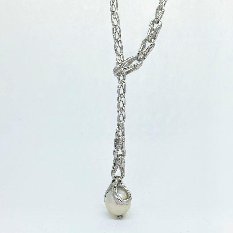 John Hardy Bamboo Drop Pearl Lariat Necklace