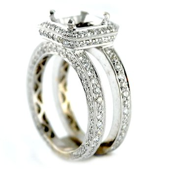 Halo w/Double Band Diamond Engagement Ring Mounting