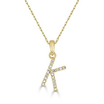 "Initial ""K"" Diamond Necklace"