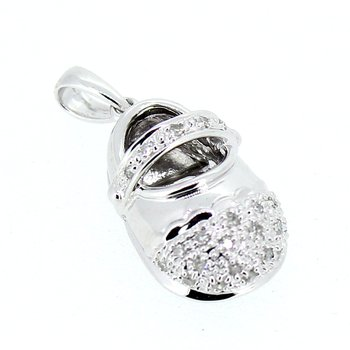 Diamond Baby Shoe Pendant or Charm