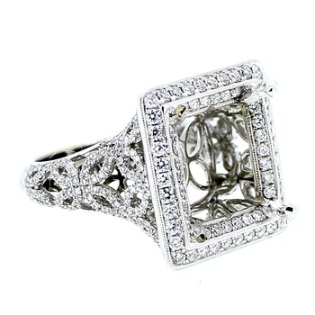 Square Halo Openwork Ring Mounting