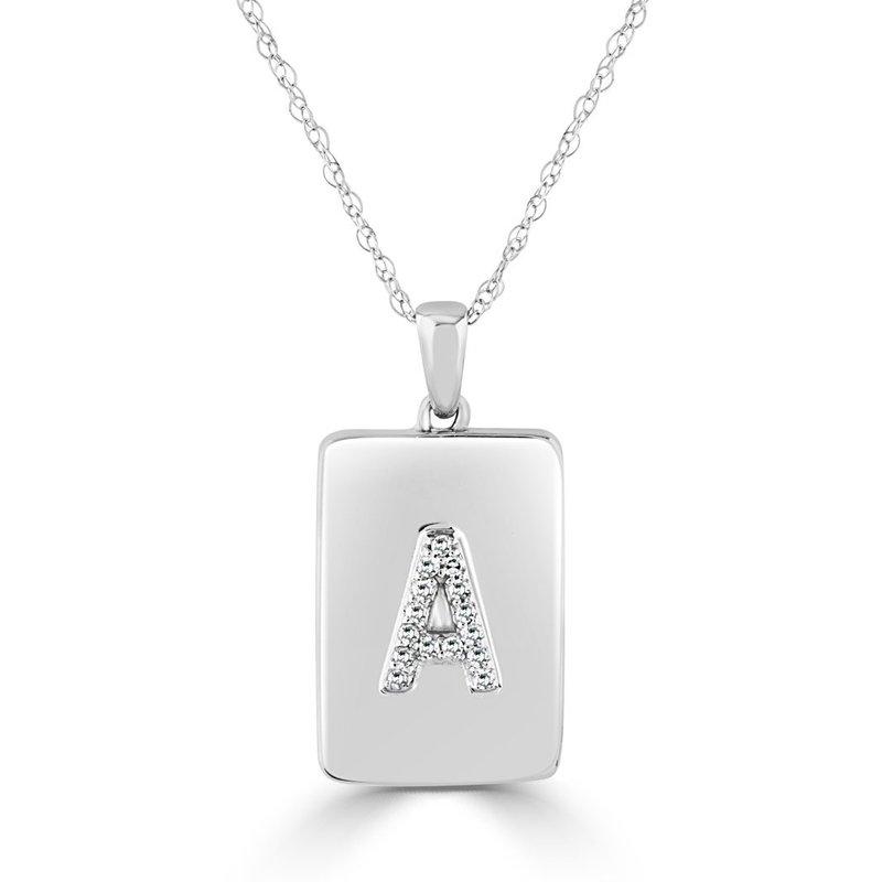 "Sabrina Initial ""A"" Diamond Dog Tag Necklace"