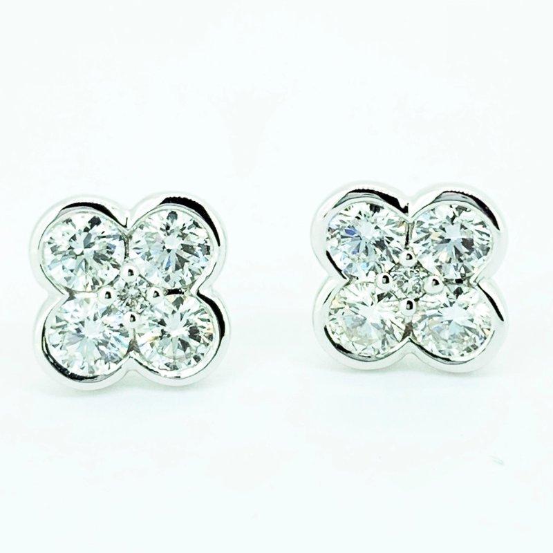 Decor Diamond Clover Stud Earrings