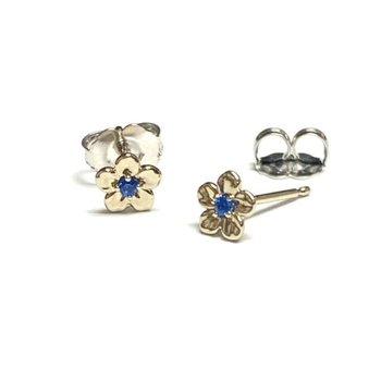 Tiny Sapphire Flower Studs