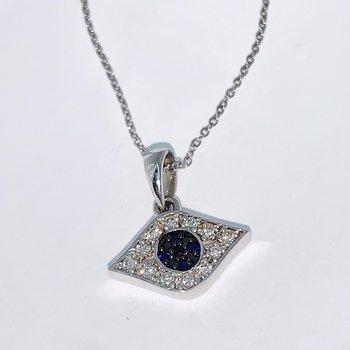 Evil Eye Diamond Pendant & Chain