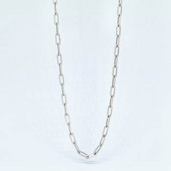 """24"""" Paperclip White Gold Chain Necklace"""