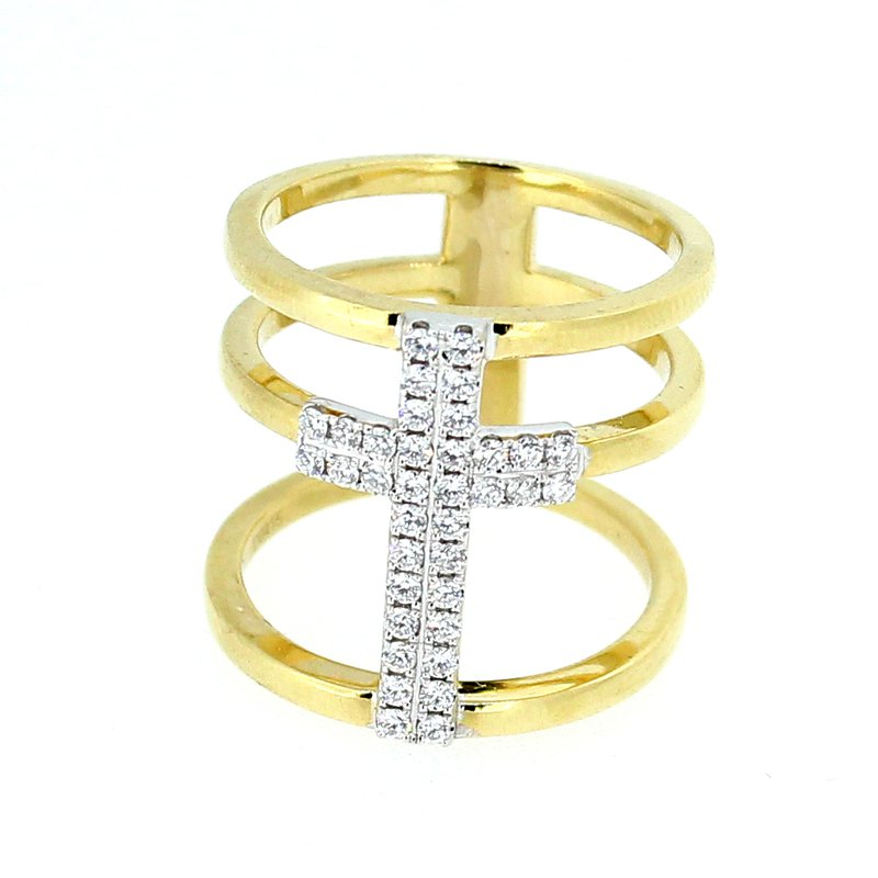 Decor Triple Band Diamond Cross Ring