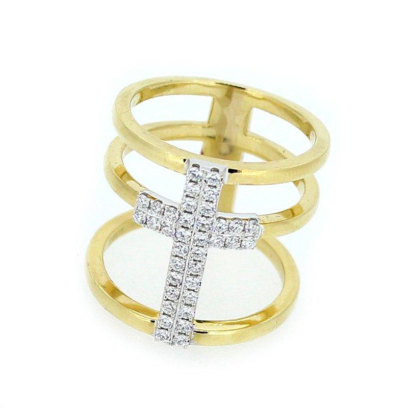 Decor Triple Band Diamond Cross Ring