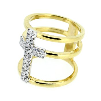 Triple Band Diamond Cross Ring