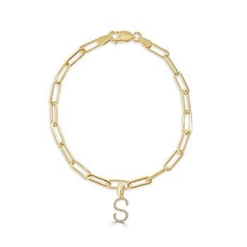 "Paperclip Initial ""S"" Bracelet"