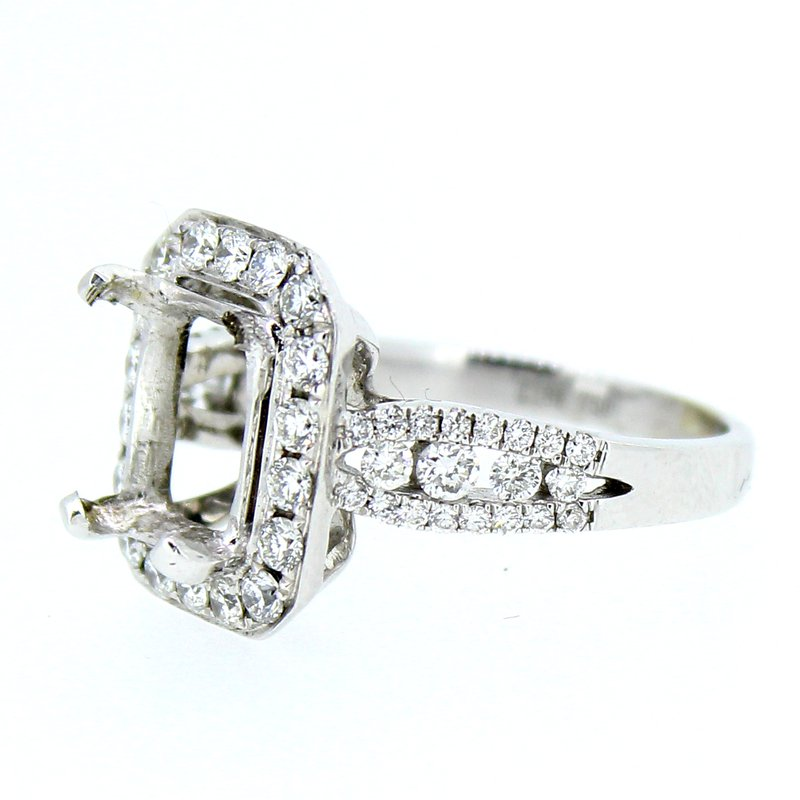 Decor Rectangular Halo Diamond Ring Mounting