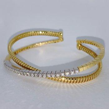 Diamond Crossover Cuff Bracelet