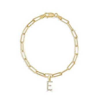 """Paperclip Initial """"E"""" Bracelet"""