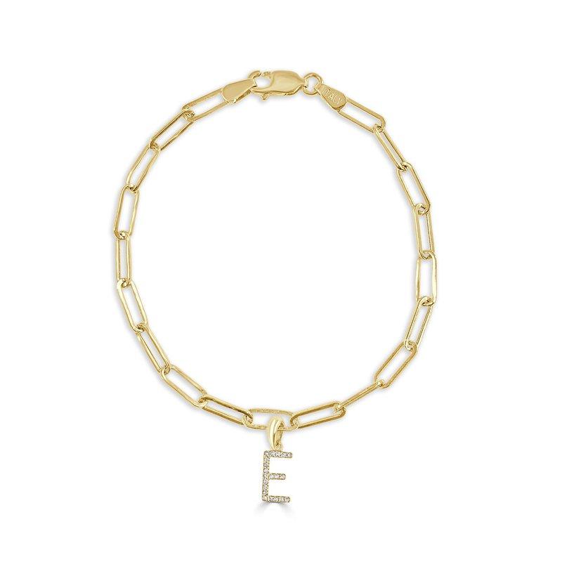 """Sabrina Paperclip Initial """"E"""" Bracelet"""