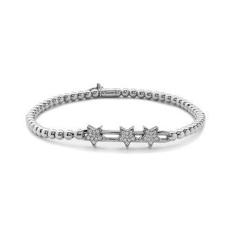 White Gold Beaded Diamond Star Slider Bracelet