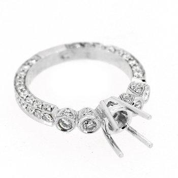 Bezel & Pave Heart Diamond Ring Mounting