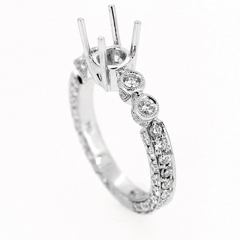 Decor Bezel & Pave Heart Diamond Ring Mounting
