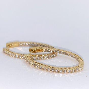 2.00ctw Diamond Oval Hoop Earrings